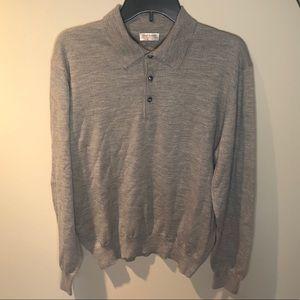grey cashmere long sleeve polo